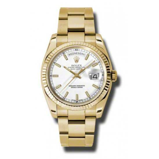 Rolex Day-Date White/index Oyster 118238