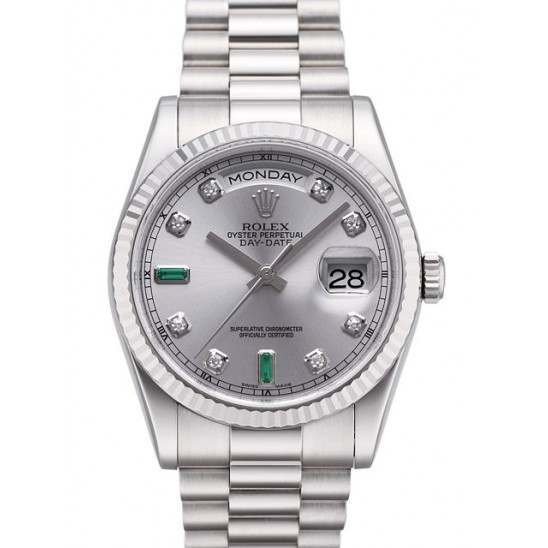 Rolex Day-Date Rhodium/Diamond & Emeralds President 118239