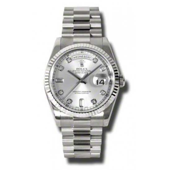 Rolex Day-Date Silver/Diamond President 118239