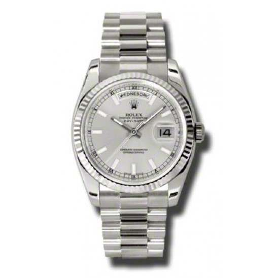 Rolex Day-Date Silver/index President 118239