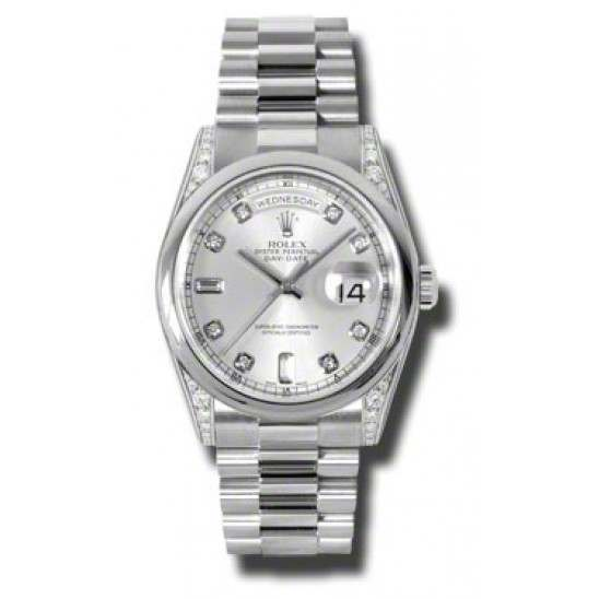 Rolex Day-Date Silver/Diamond President 118296