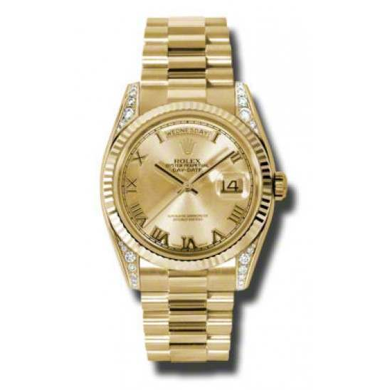 Rolex Day-Date Yellow Gold Champagne Roman President 118338