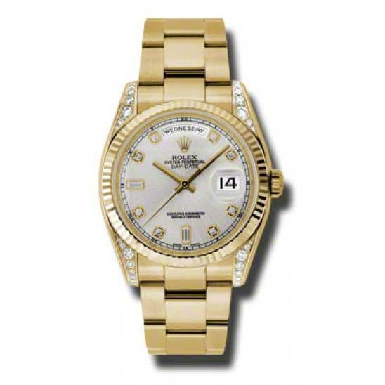 Rolex Day-Date Yellow Gold Silver/diamond Oyster 118338