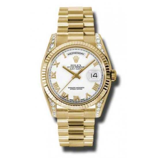 Rolex Day-Date Yellow Gold White Roman President 118338