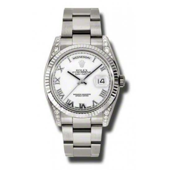 Rolex Day-Date White Roman Oyster 118339