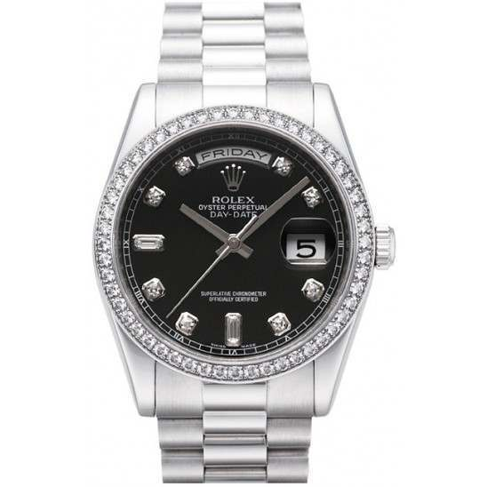 Rolex Day-Date Black/Diamond President 118346