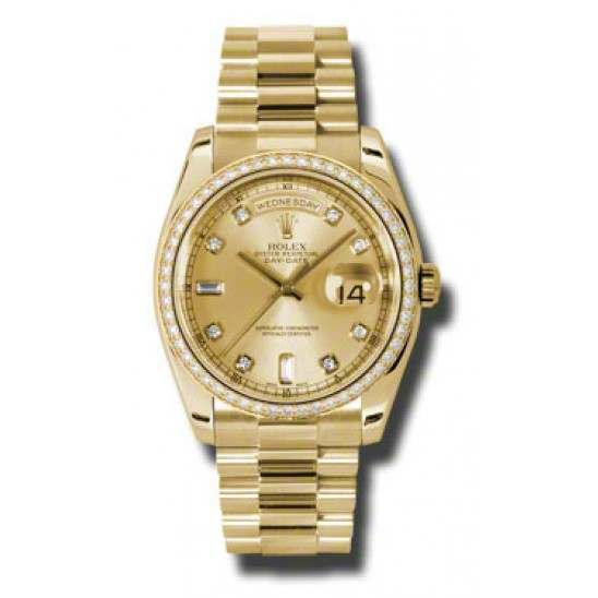 Rolex Day-Date Yellow Gold Champagne/Diamond President 118348