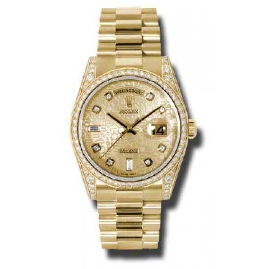 Rolex Day-Date Yellow Gold Champagne Jub/Diamond President 118388