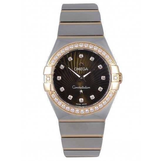 Omega Constellation Brushed Quartz Diamonds 123.25.27.60.63.001