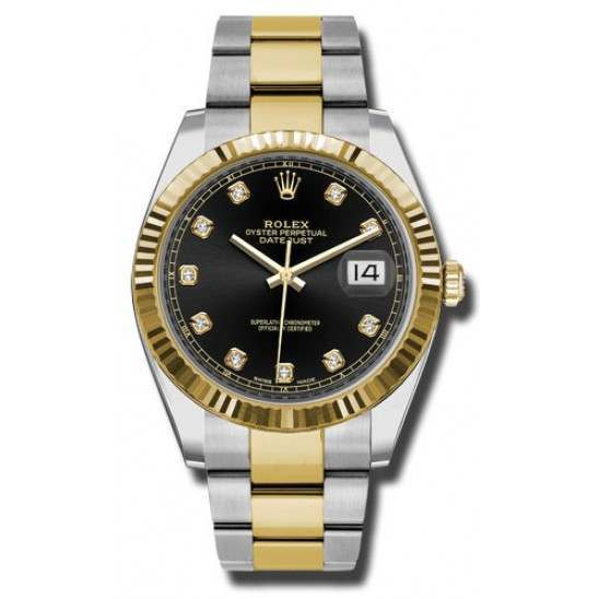Rolex Datejust 41 Steel and Yellow Gold Black/Diamond Oyster 126333