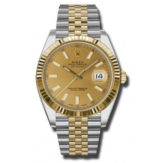 Rolex Datejust 41 Steel and Yellow Gold Champagne/Index Jubilee 126333