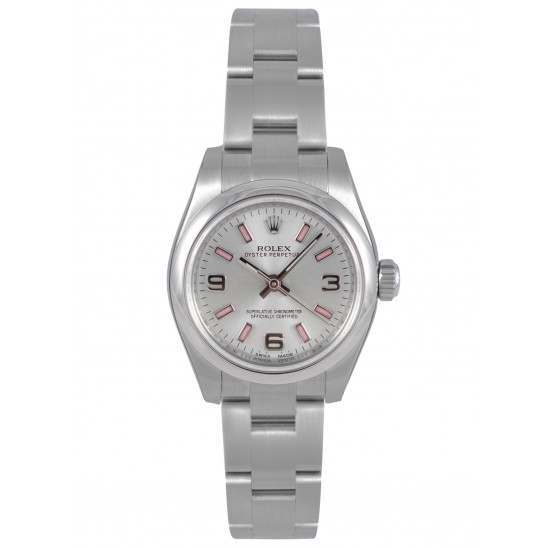 Rolex Perpetual No-Date 26mm Silver Arab Pink index Oyster 176200