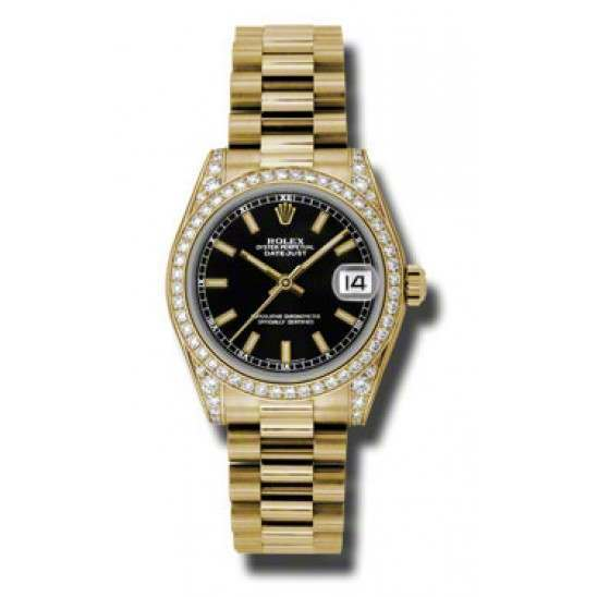 Rolex Datejust 31mm Yellow Gold Black/index President DMD 178158
