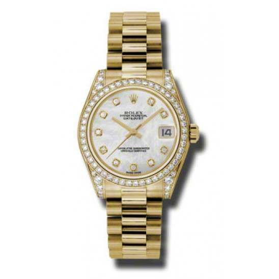 Rolex Datejust 31mm Yellow Gold White mop/Diamond President 178158