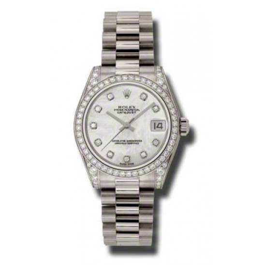 Rolex Datejust 31mm White Gold White mop/Diamond President 178159