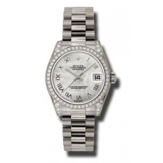 Rolex Datejust 31mm White Gold White mop Roman President 178159