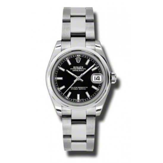 Rolex Lady Datejust 31mm Black/index Oyster 178240