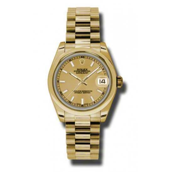 Rolex Datejust 31mm Yellow Gold Champagne/index President 178248