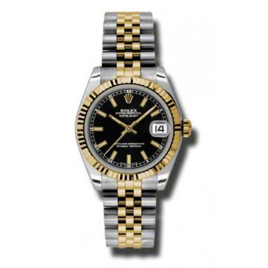 Rolex Lady Datejust 31mm Black/index Jubilee 178273