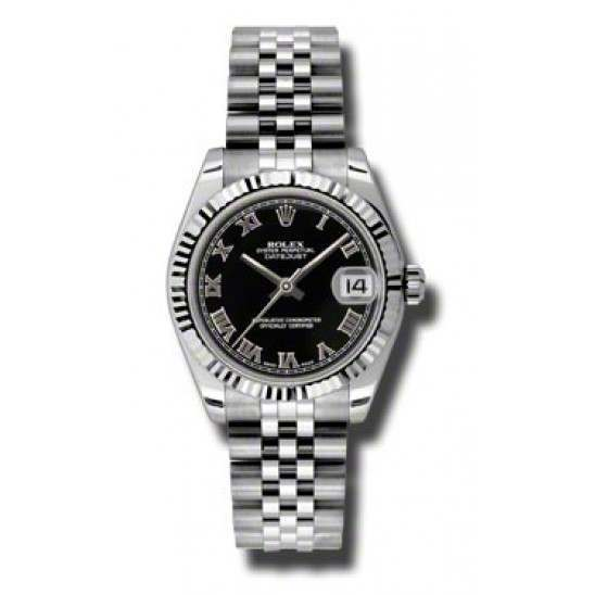 Rolex Lady Datejust 31mm Black Roman Jubilee 178274