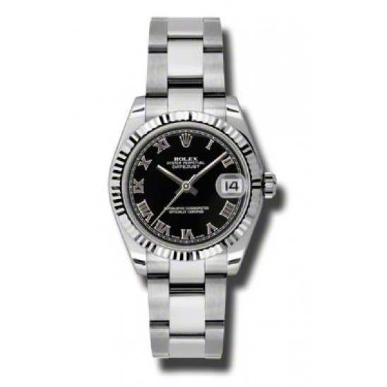 Rolex Lady Datejust 31mm Black Roman Oyster 178274