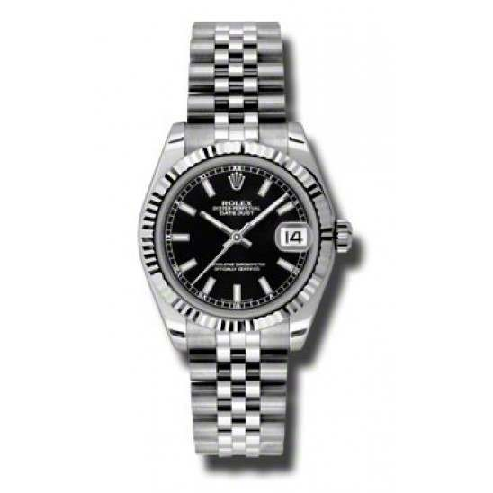 Rolex Lady Datejust 31mm Black/index Jubilee 178274