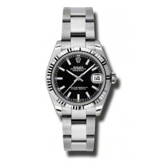 Rolex Lady Datejust 31mm Black/index Oyster 178274
