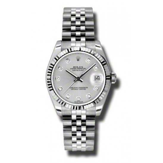 Rolex Lady Datejust 31mm Silver/diamond Jubilee 178274