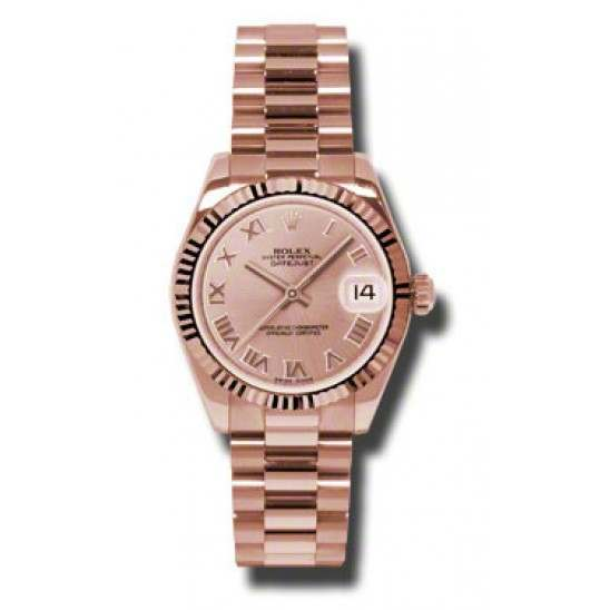 Rolex Datejust 31mm Pink Gold Pink Roman President 178275