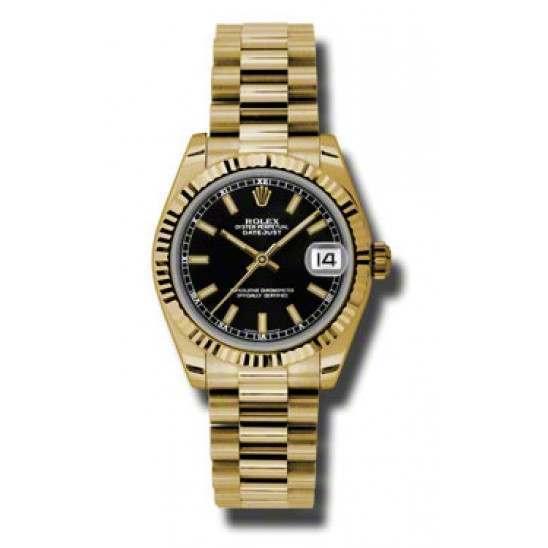Rolex Lady Datejust 31mm Black/index President 178278
