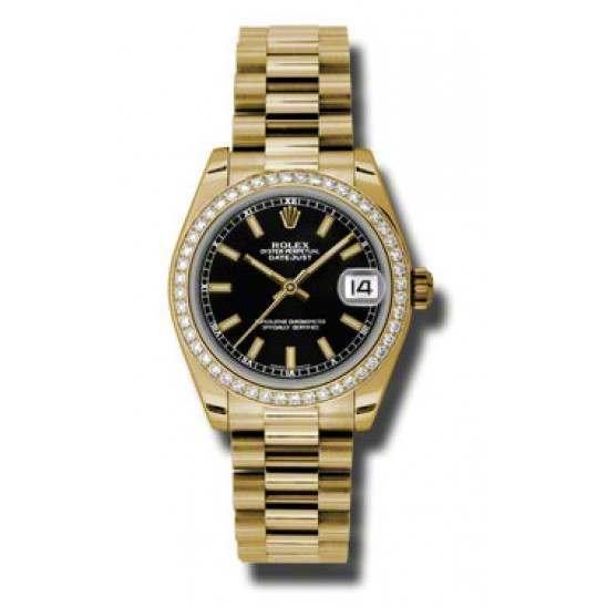 Rolex Lady Datejust 31mm Black/index President 178288