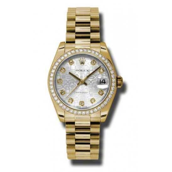 Rolex Lady Datejust 31mm Silver Jub/diamond President 178288