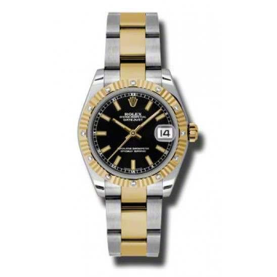 Rolex Datejust 31mm Steel & Yellow Gold Black/index Oyster 178313