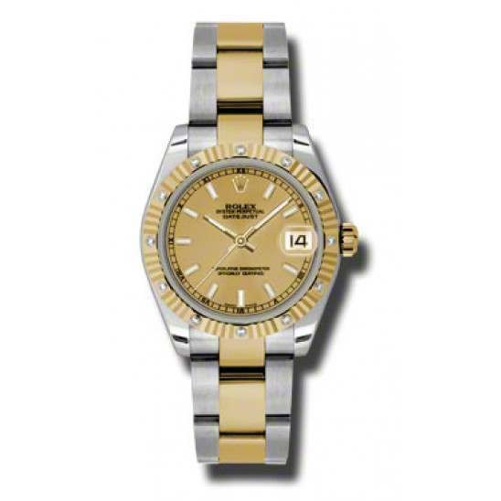 Rolex Datejust 31mm Steel & Yellow Gold Champagne/index Oyster 178313