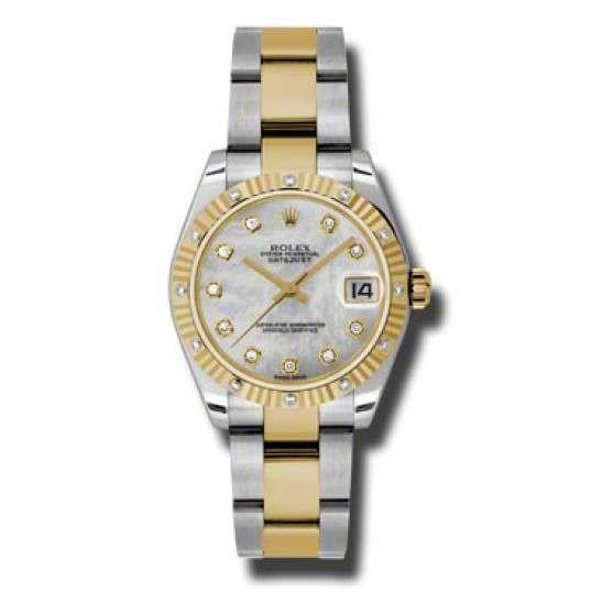 Rolex Datejust 31mm Steel&Yellow Gold White mop/Diamond Oyster 178313
