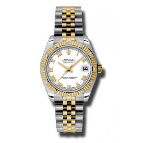 Rolex Datejust 31mm Steel & Yellow Gold White Roman Jubilee 178313