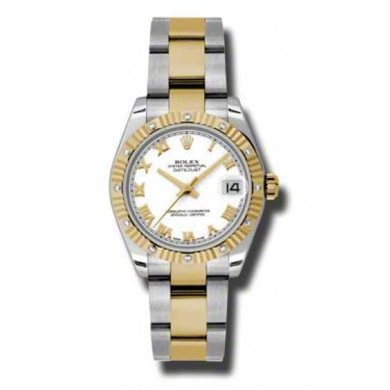 Rolex Datejust 31mm Steel & Yellow Gold White Roman Oyster 178313