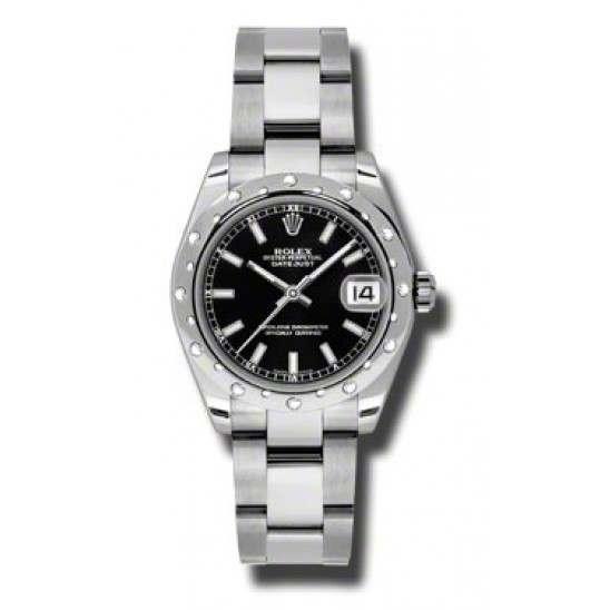 Rolex Lady Datejust 31mm Black/index Oyster 178344