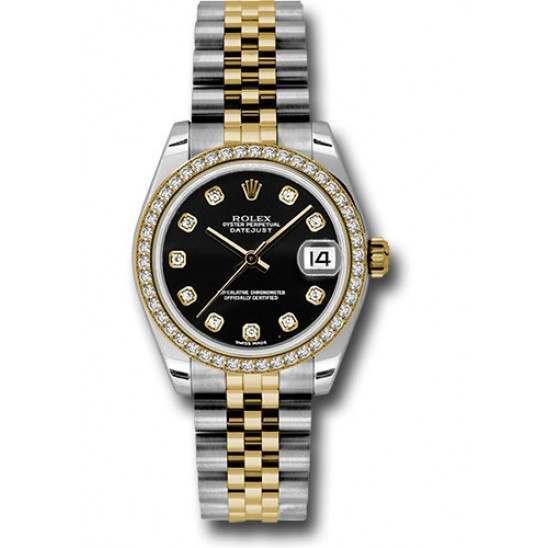 Rolex Lady Datejust 31mm Black/diamond Jubilee 178383