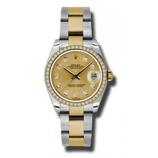Rolex Lady Datejust 31mm Champagne/diamond Oyster 178383