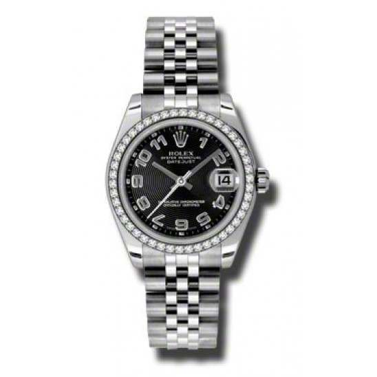 Rolex Lady Datejust 31mm Black Arab Concentric Jubilee 178384