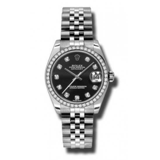 Rolex Lady Datejust 31mm Black/diamond Jubilee 178384