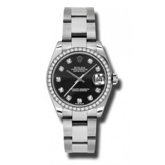 Rolex Lady Datejust 31mm Black/diamond Oyster 178384