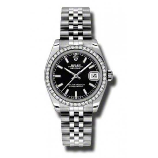 Rolex Lady Datejust 31mm Black/index Jubilee 178384