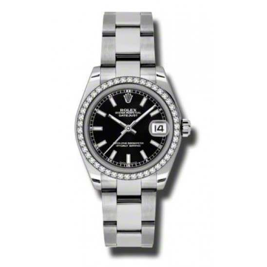 Rolex Lady Datejust 31mm Black/index Oyster 178384