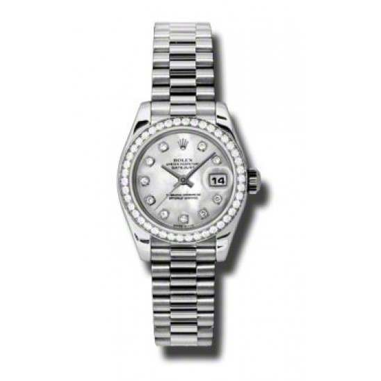 Rolex Lady-Datejust White mop/diamond President 179136