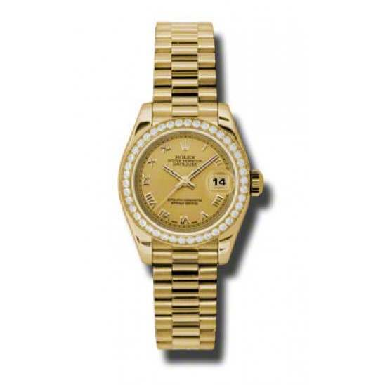 Rolex Lady-Datejust Champagne Roman President 179138