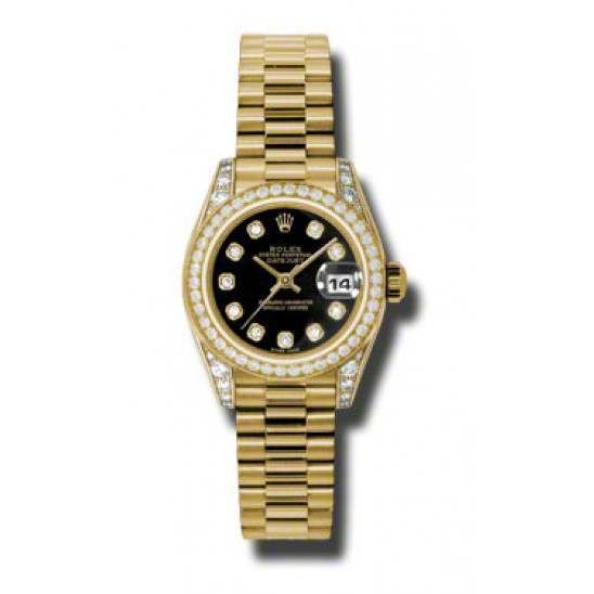Rolex Lady Datejust Yellow Gold Black/diamond President 179158
