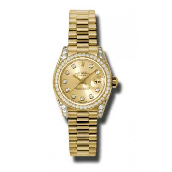 Rolex Lady Datejust Yellow Gold Champagne/diamond President 179158