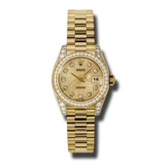 Rolex Lady Datejust Yellow Gold Champagne Jub/diamond President 179158